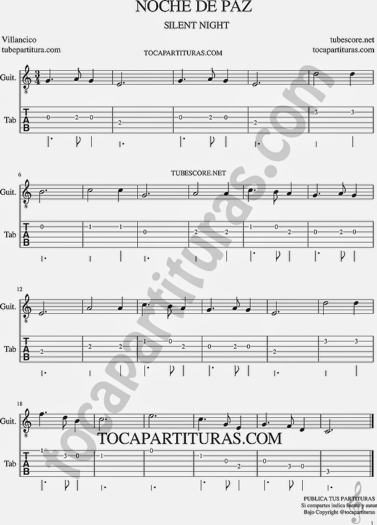Tubescore Silent Night Tabs Sheet Music for Guitar Noche de Paz Christmas Carol