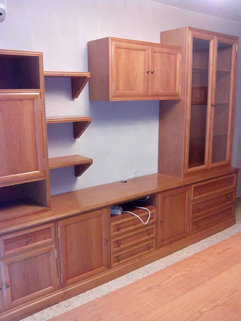 Librer a mural en madera y chapas de cerezo muebles cansado zaragoza carpintero ebanista - Muebles de chapa ...