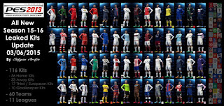 Download PES 2013 All New Season 2015-2016 Leaked Kits Update Juni 2015 By Sofyan Arifin