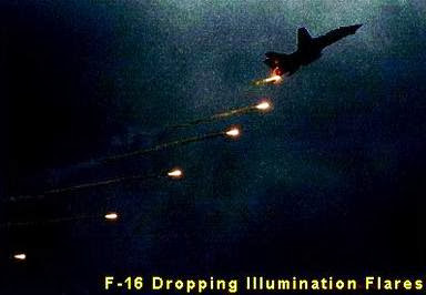 F-16 Dropping Illumination Flares