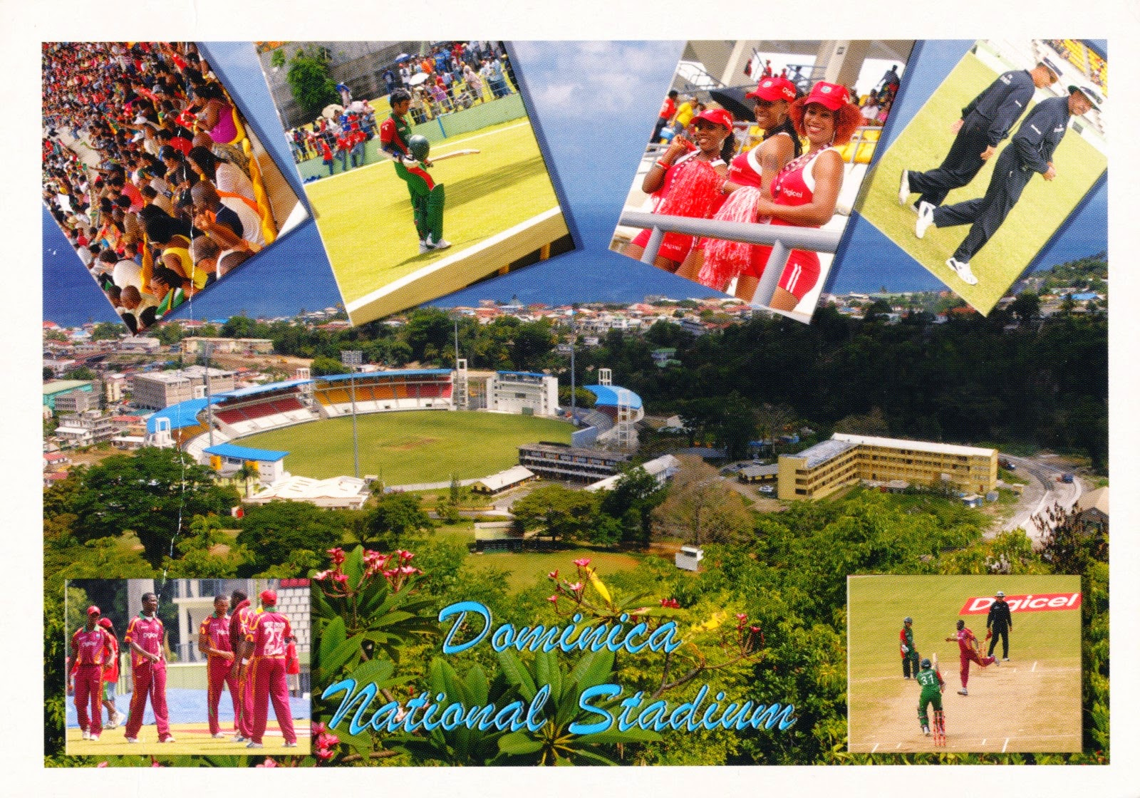 postcard, dominica, national stadium, cricket