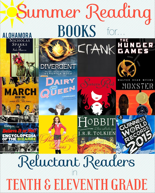 Summer Reading Book List for Reluctant Readers in 10th and 11th Grade.  This book list is for all of the kids that don't like to read.  This book list has 12 great books from a variety of genres that everyone can find one to enjoy.  Many of them are a series.  Alohamora Open a Book http://www.alohamoraopenabook.blogspot.com/ Romance, Dystopian, Action, Adventure, Graphic Novels, Historical, Fairytales, Realistic Fiction, Divergent, Hunger Games, Nicholas Sparks, Crank in Free Verse Poetry, Non-Fiction (Ripley's and Guinness) Boys, Girls, Teens, High School YA Young Adult