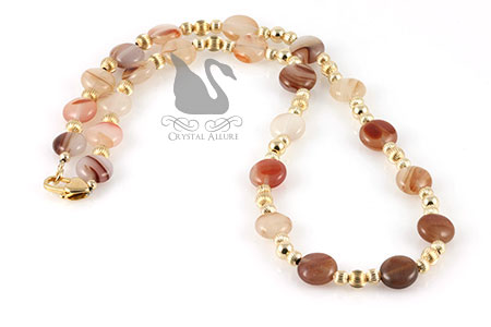 Carnelian Puff Gemstone Beaded Necklace (N067)