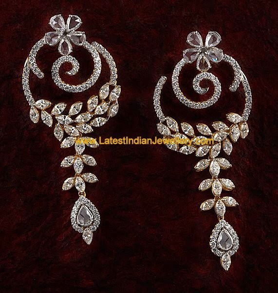 Unique Party Wear Diamond Earrings