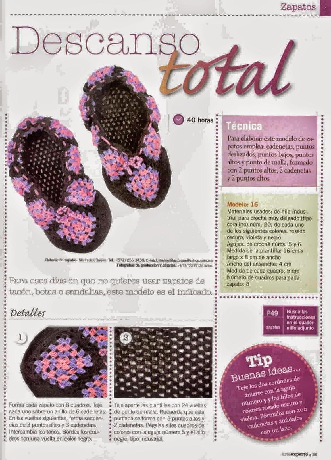 Calzado de descanso tejido con ganchillo | Crochet y Dos agujas ...