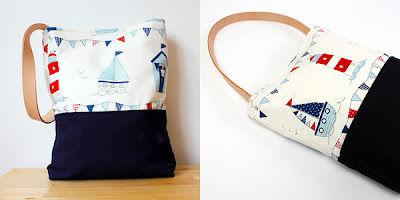 Beach Bag in red, white and blue with leather handle