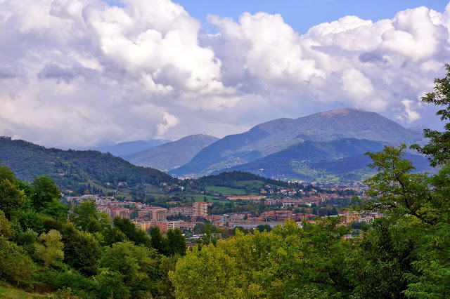 Image of Bergamo and the Italian Alps on the background.