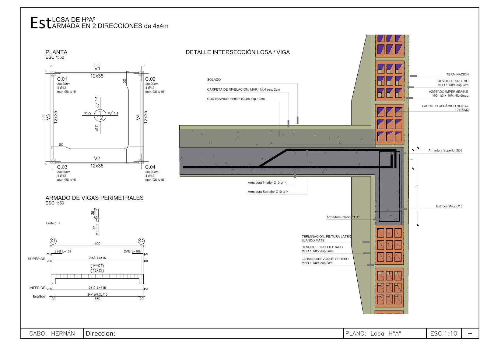 Detalles constructivos cad losa de hormigon armado armada - Precio de ladrillos huecos del 12 ...