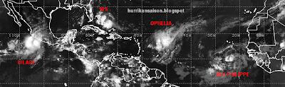 OPHELIA ist nicht allein im Atlantik, Ophelia, Philippe, Atlantik, aktuell, Verlauf, September, Satellitenbild Satellitenbilder, 2011, Hurrikansaison 2011,