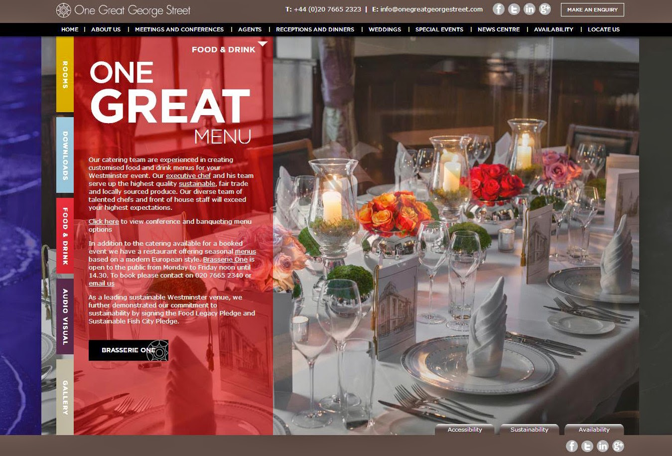 Food and Beverage Menus Event Venue