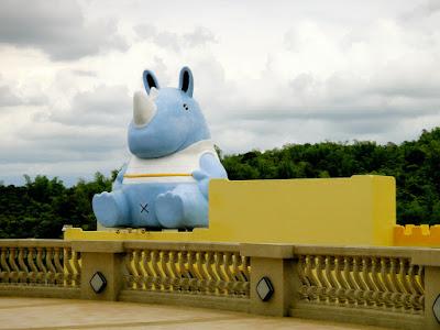 E-da Theme Park Blue Mascot Rhino
