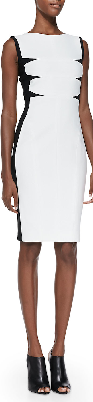 Narciso Rodriguez Triangular-Inset Scuba Dress White/Black