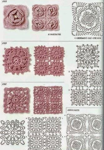 6 grannys con centro floral al crochet - con diagramas