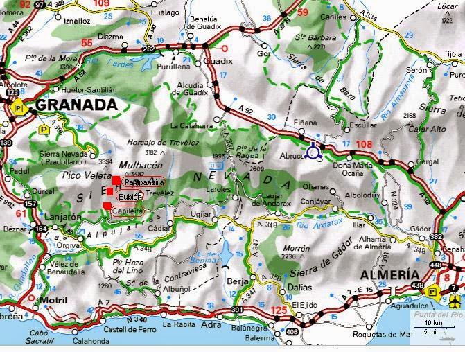 Mapa de la Alpujarra Granadina Barranco del Poqueira