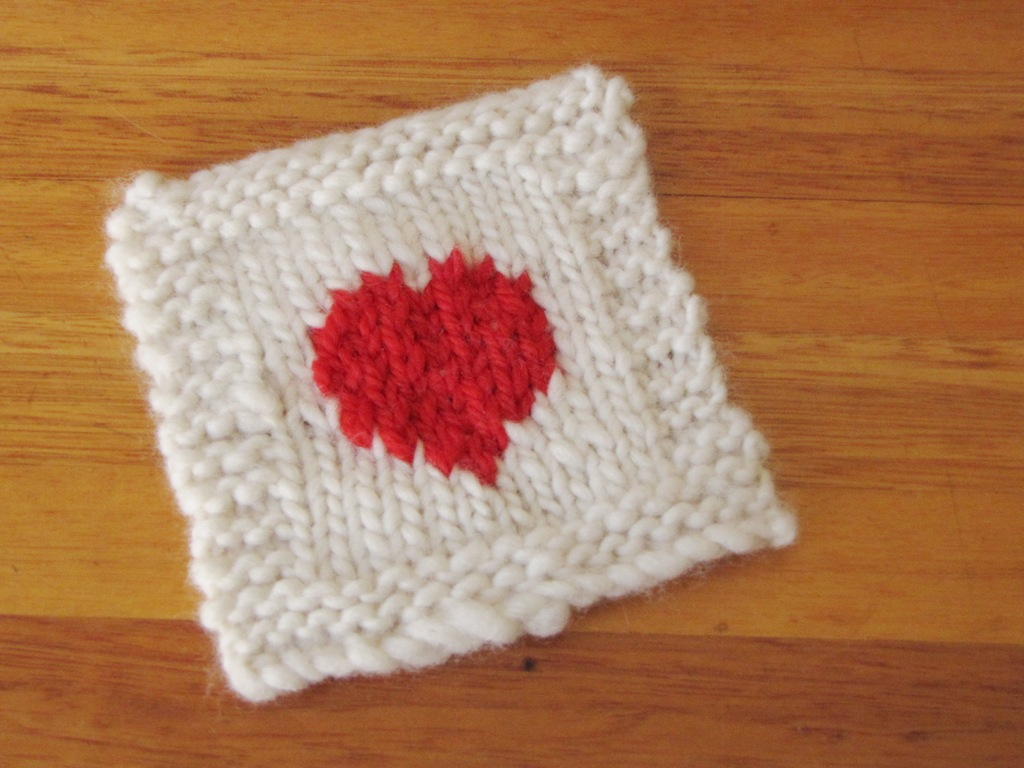 Valentine Heart Coaster Knitting Pattern Colour Work Natural Suburbia