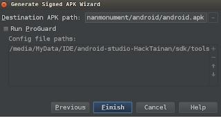 Generate Signed APK Wizard -