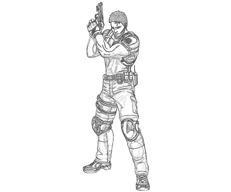 printable-resident-evil-chris-redfield-Portrait_coloring-pages