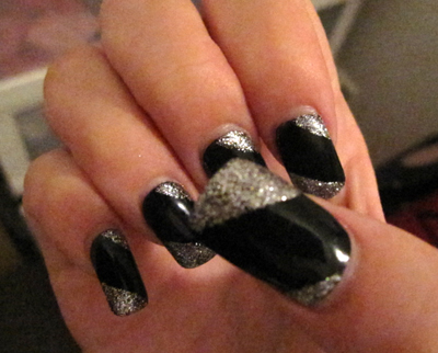 silver and black nails