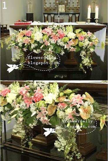 Decoración floral con paniculata, verde, margaritas y algo de rosa (lilium) 7