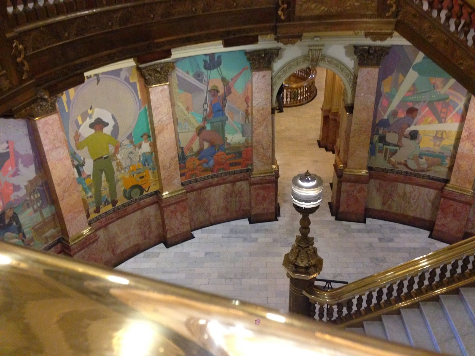 The murals inside of the Colorado State Capitol which pay tribute to the workers who have built the state