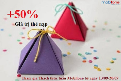 Thách thức tuần Mobifone tặng 50% mệnh giá thẻ nạp