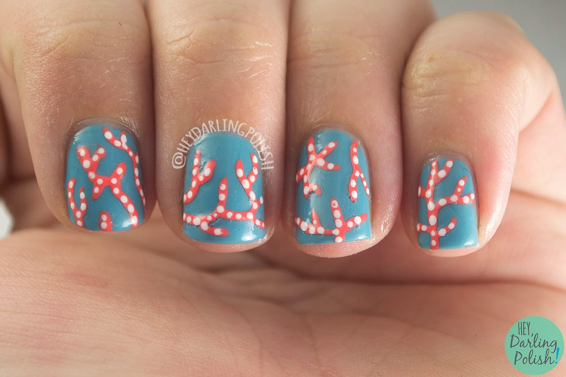 nails, nail art, nail polish, coral, sea coral, hey darling polish, oh mon dieu, polka dots