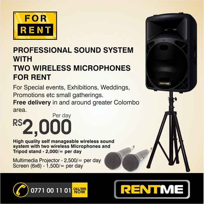PROFESSIONAL SOUND SYSTEM WITH TWO WIRELESS MICROPHONES FOR RENT  For Special events, Exhibitions, Weddings, Promotions etc small gatherings. Free delivery in and around greater Colombo area.  High quality self manageable wireless sound system with two wireless Microphones and Tripod stand - 2,000/= per day  Multimedia Projector - 2,500/= per day Screen (6x6) - 1,500/= per day