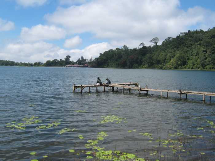 Fragile bridge made ​​of bamboo in Beratan lake Bali