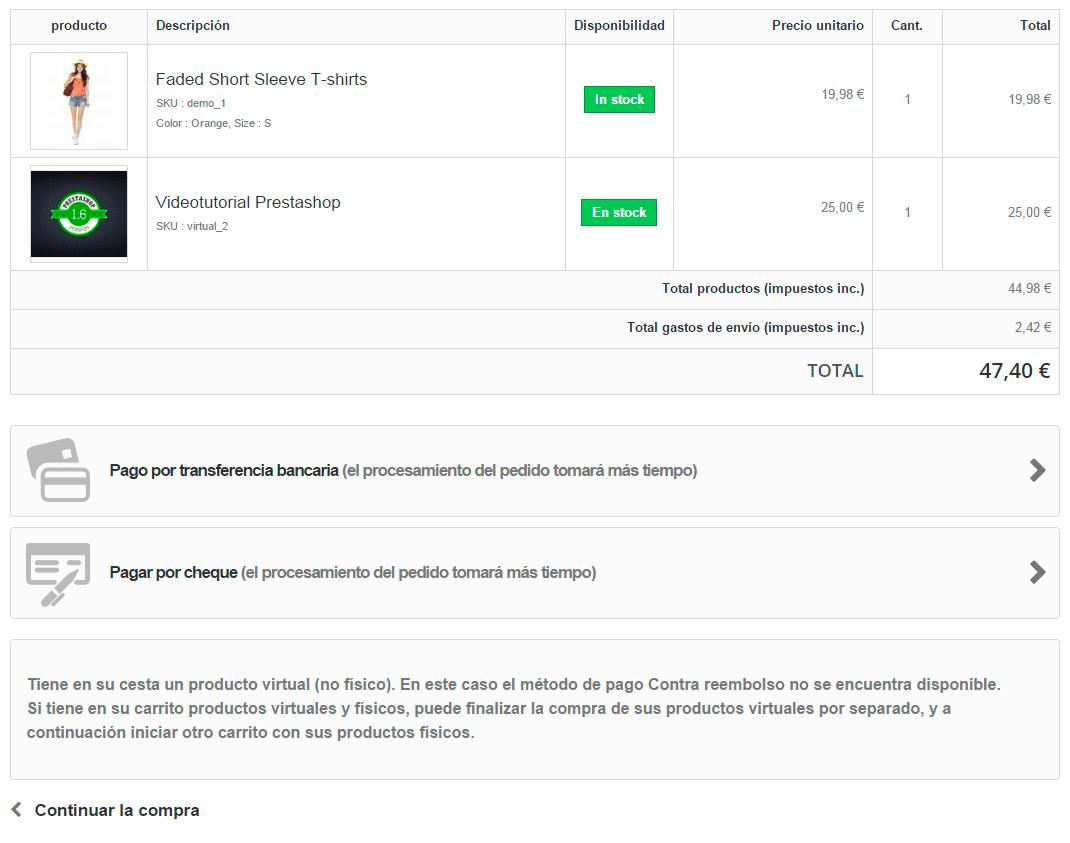 Deshabilitar método de pago para productos virtuales en Prestashop
