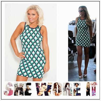 TOWIE, Sam Faiers, Neon Green, Navy Blue, White, Geometric, Diamond Pattern Diamond Print, Sleeveless, Bodycon, Mini Dress, The Only Way Is Essex,