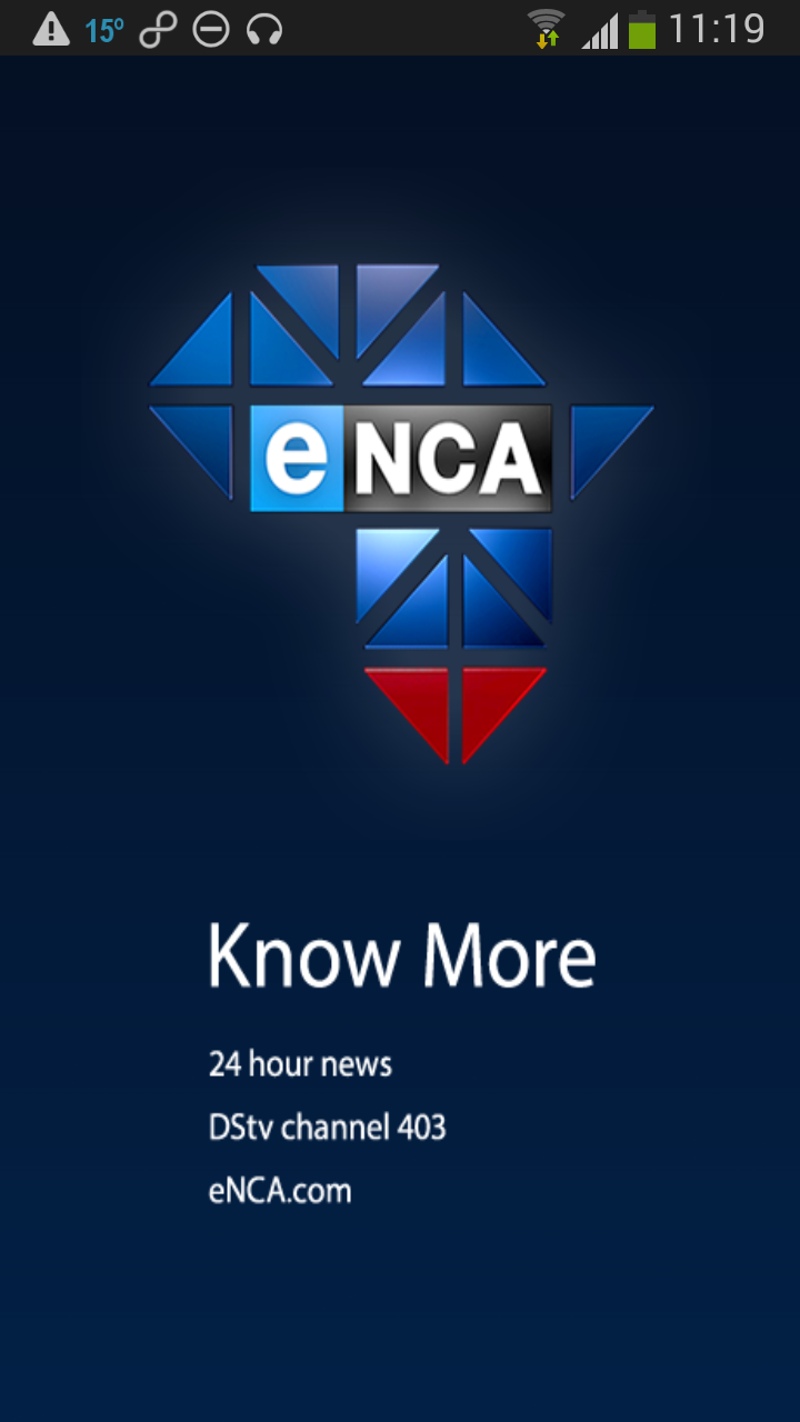 eNCA Android App Splash Screen advertising DSTV for free