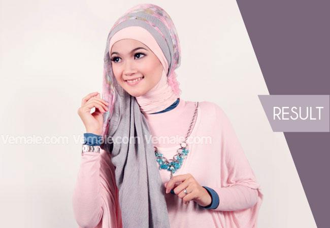 Cara Memakai Jilbab Pashmina Kombinasi Polos Dan Motif