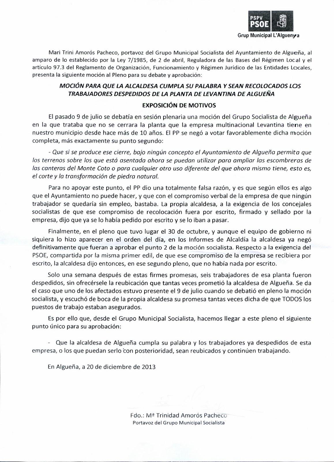 Pspv psoe algue a enero 2014 - Levantina novelda ...