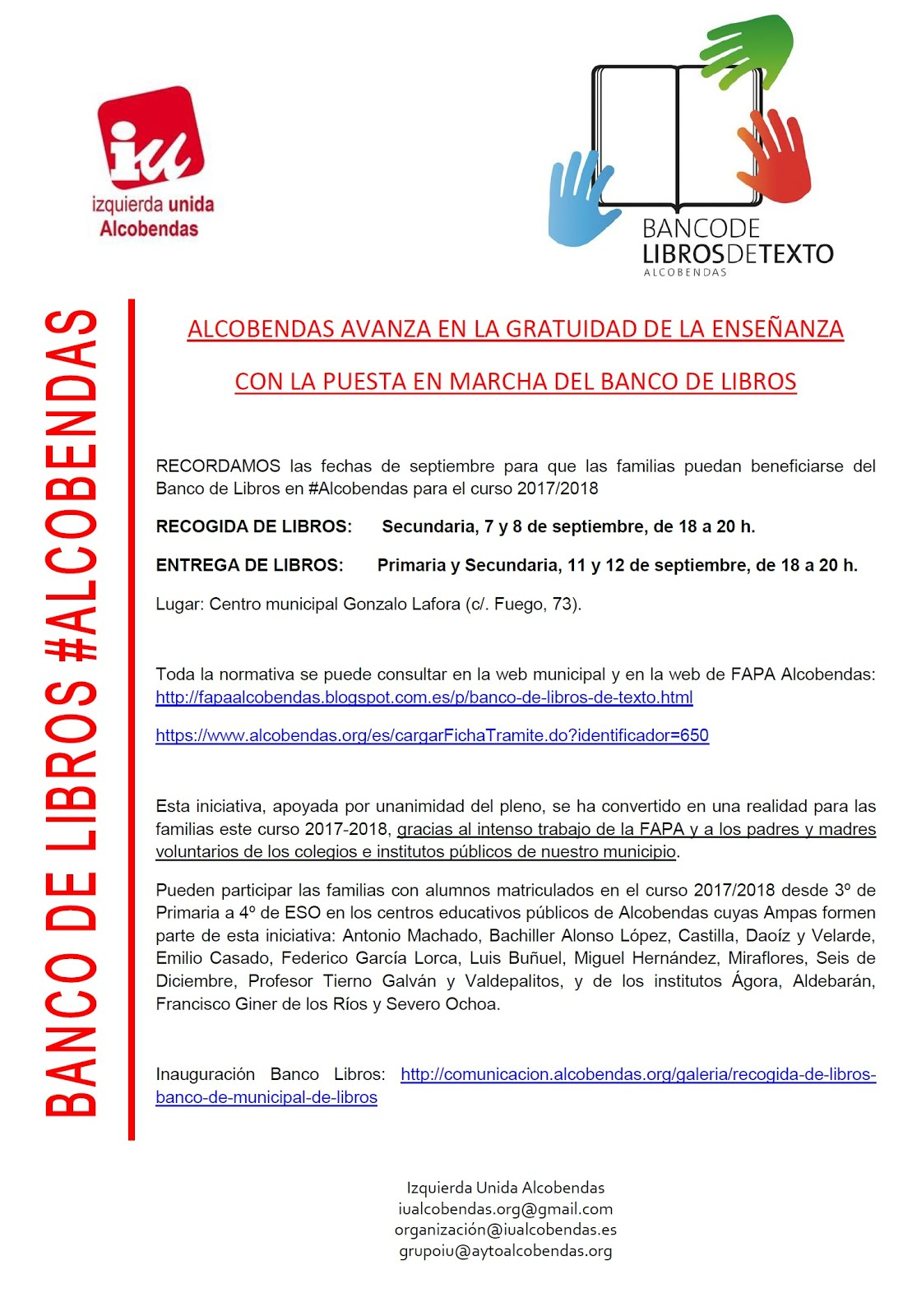 Información Banco de Libros #Alcobendas