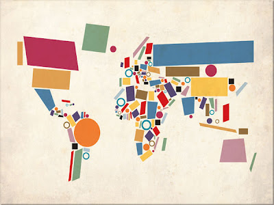 abstract map of the world map canvas