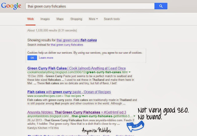An example of how bad SEO is displayed in Google search results from www.anyonita-nibbles.com