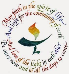 Calligraphic flame in chalice. Circular text above and below the image reads, May faith in the spirit of life/ And hope for the community of earth/ And love of the light in each other/ Be ours now and in all the days to come.