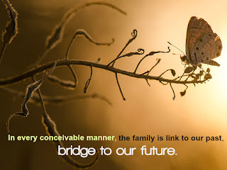 In every conceivable manner, the family is link to our past, bridge to our future.