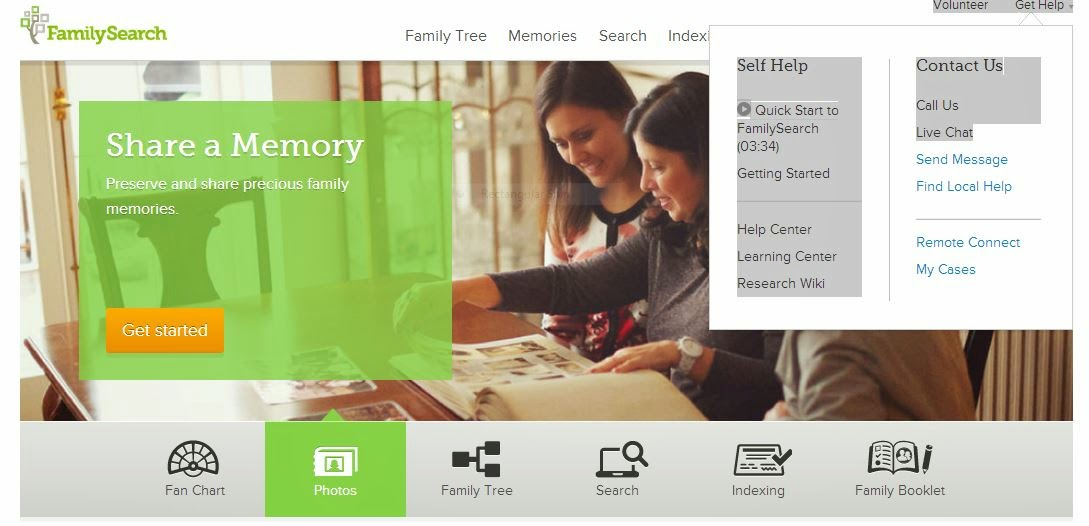 FamilySearch help drop down menu