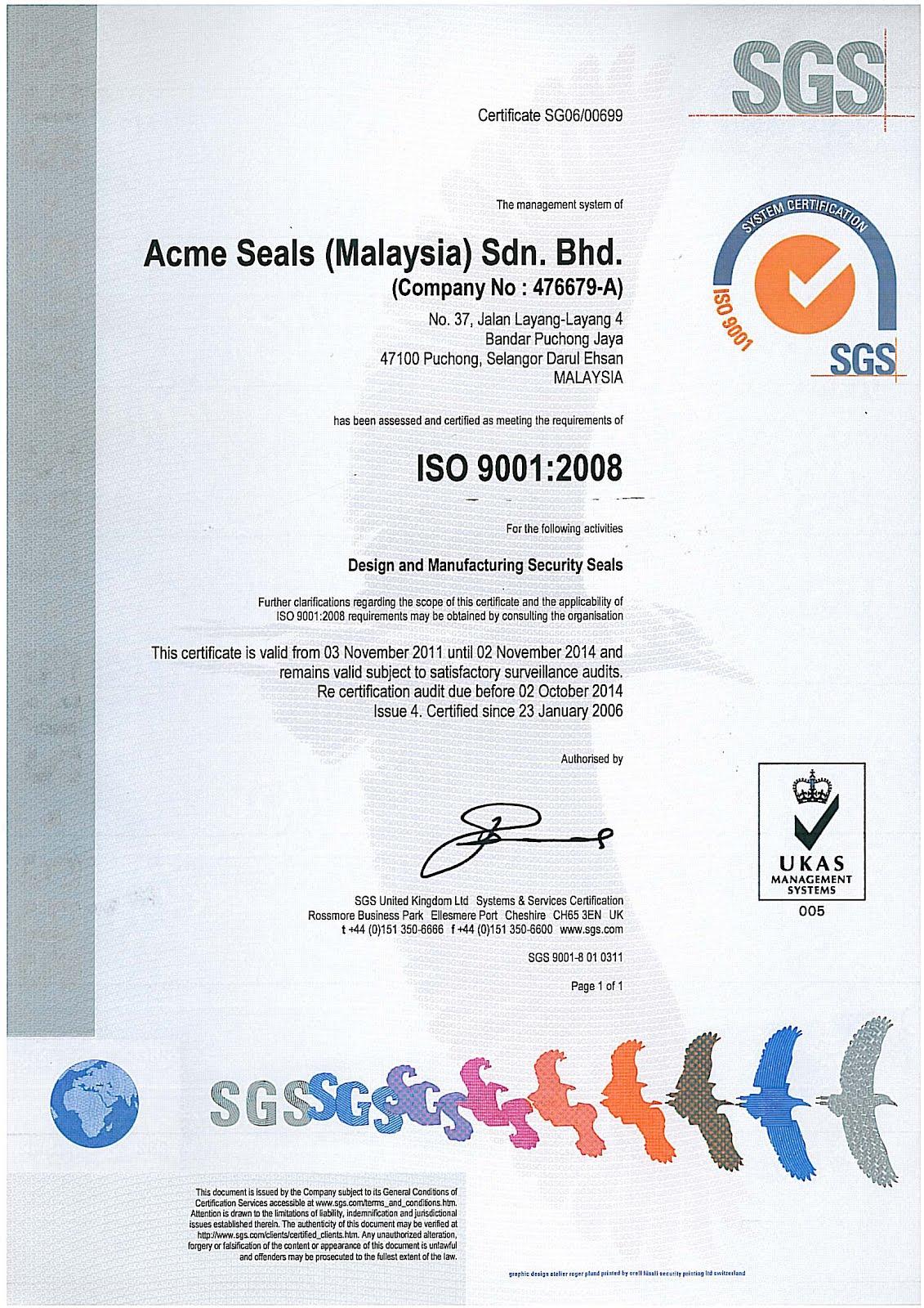Seal niêm phong ISO 9001:2008