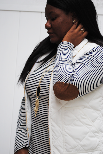 An outfit post featuring J. Crew Factory vest, Kendra Scott jewelry, and riding boots.