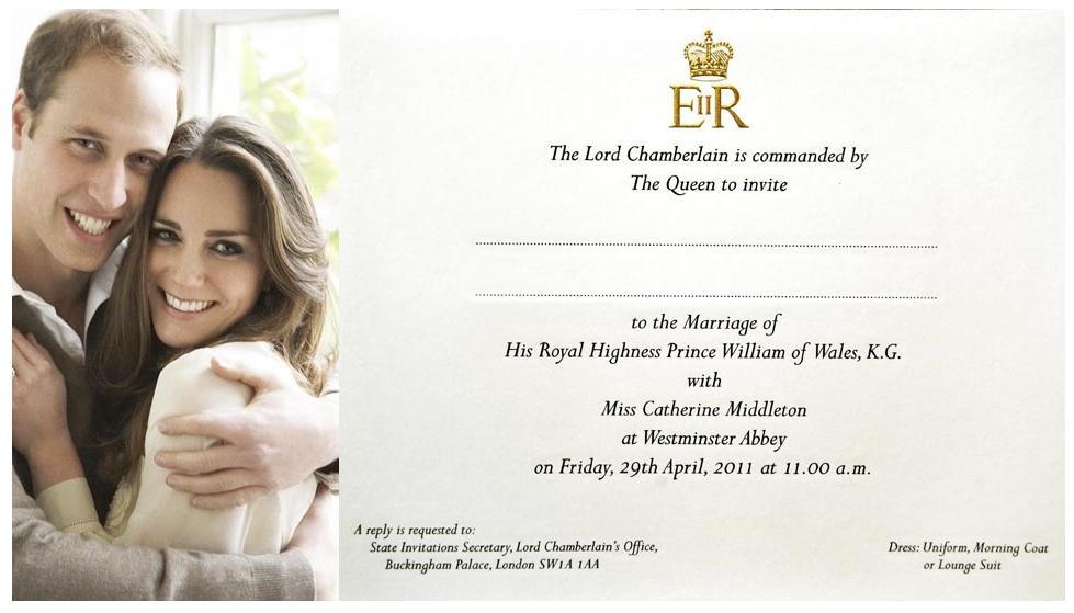 kate middleton dress: Prince William and Kate Middleton Invitation