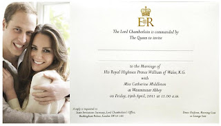 Prince William and Kate Middleton Royal Wedding Invitation