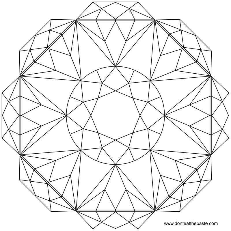Don 39 t eat the paste brilliant cut mandala to color for Diamond coloring page