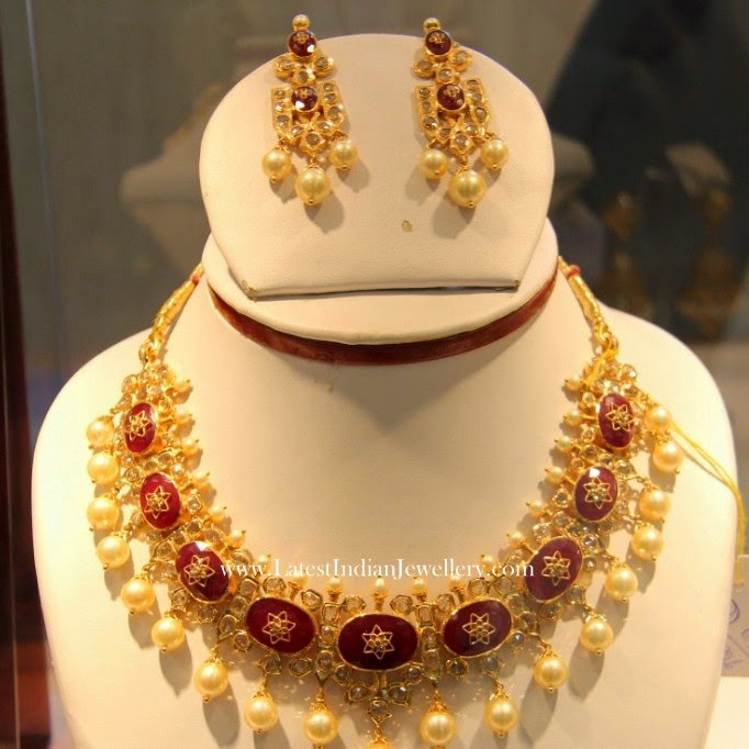 Pearl Drops Ruby Necklace Set