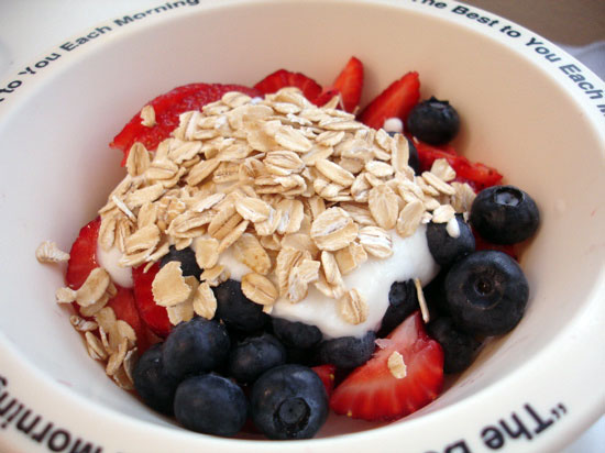 fruit, yogurt and oats