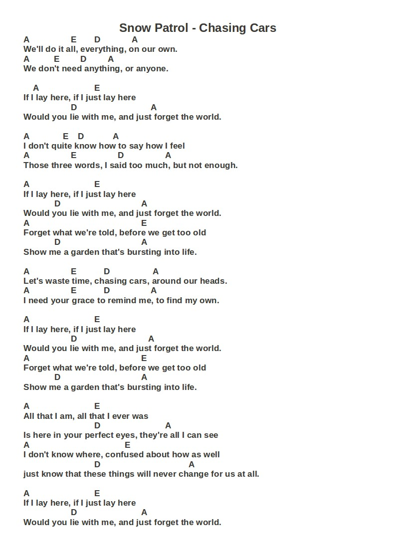 Snow patrol chasing cars guitar chords