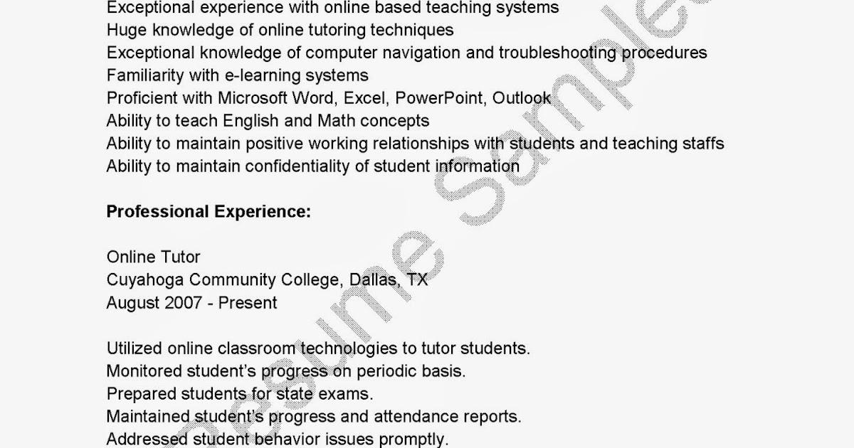 Sample of online tutor resume