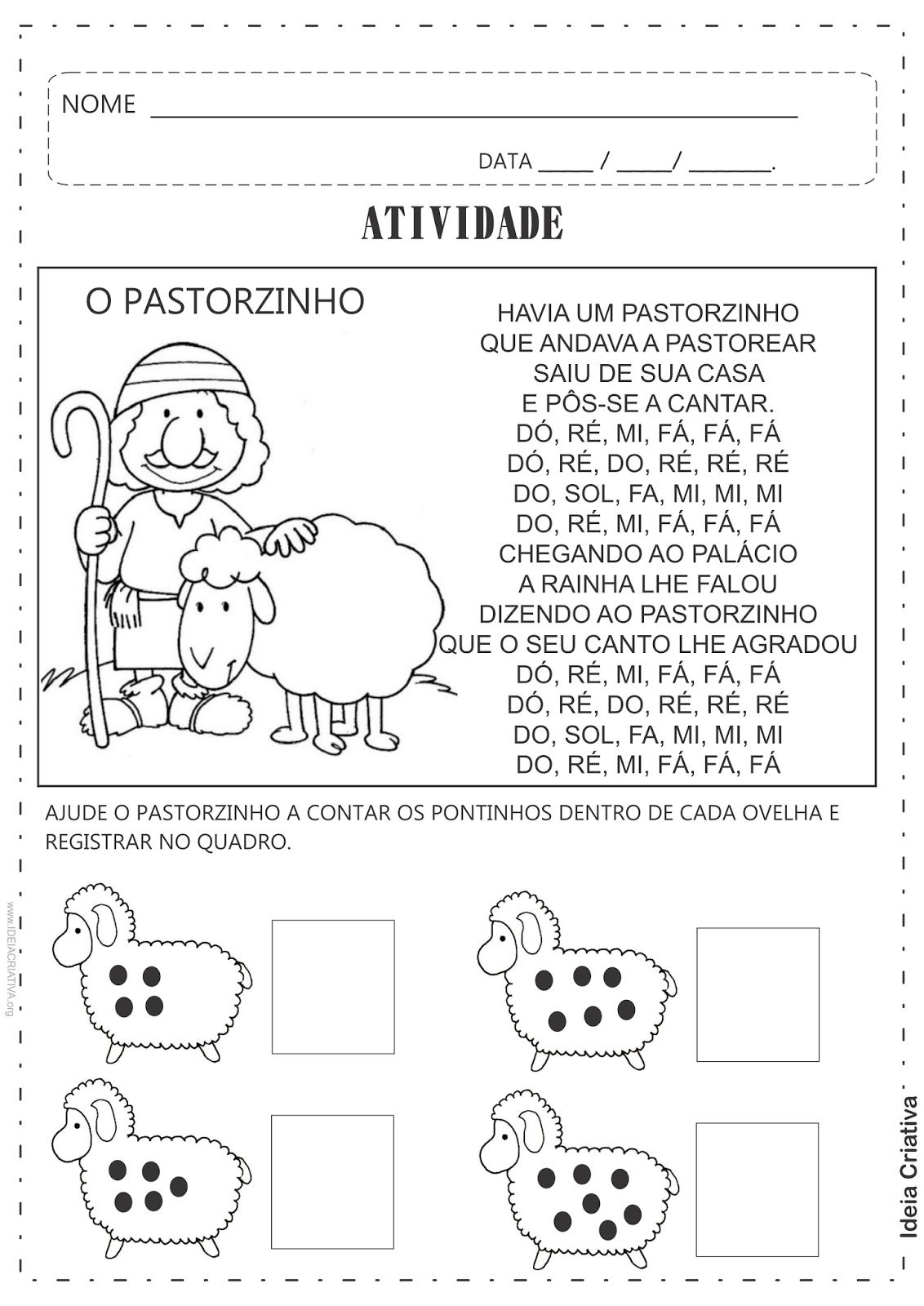 Atividade O Pastorzinho Número e Quantidade