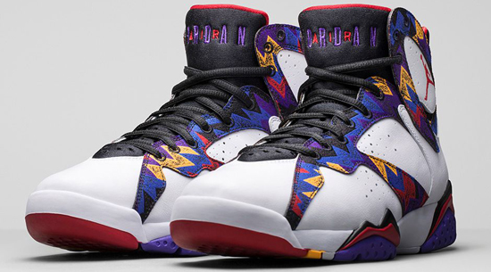 Known As The Sweater Or Nothing But Net Edition This Air Jordan 7 Retro Comes In A White University Red Black And Bright Concord Colorway